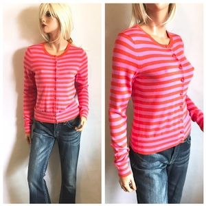 BANANA REPUBLIC Candy Striped Cardigan Sweater